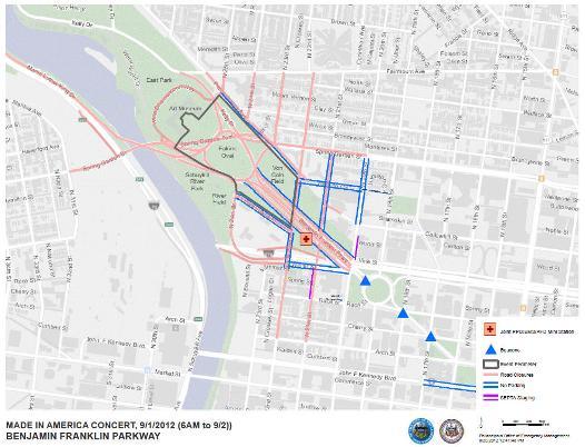 Map of Benjamin Franklin Parkway for Made in America Festival