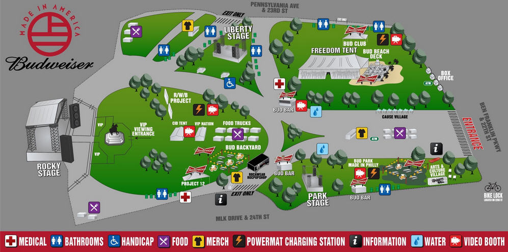 Made in America map of the stages and food stations