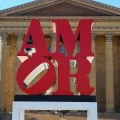 """AMOR"" sculpture by Robert Indiana at Philadelphia Museum of Art"